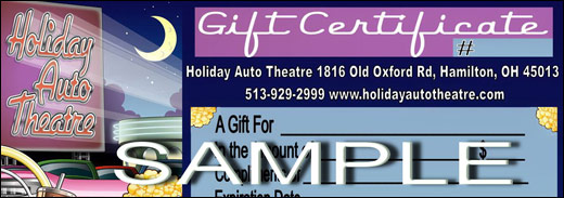 Holiday Auto Theatre Gift Certificates